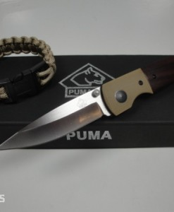 PUMA TEC Folding Pocket Knife Pakka Wood G10 Bolsters