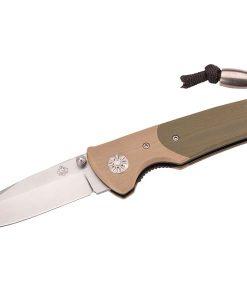 Puma TEC knife carbon steel D2, liner lock, brown olive G10 for sale