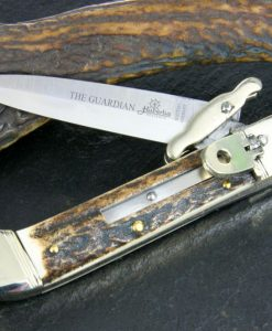 Hubertus Switchblade Springer lever lock Knife The Guardian Stag for sale