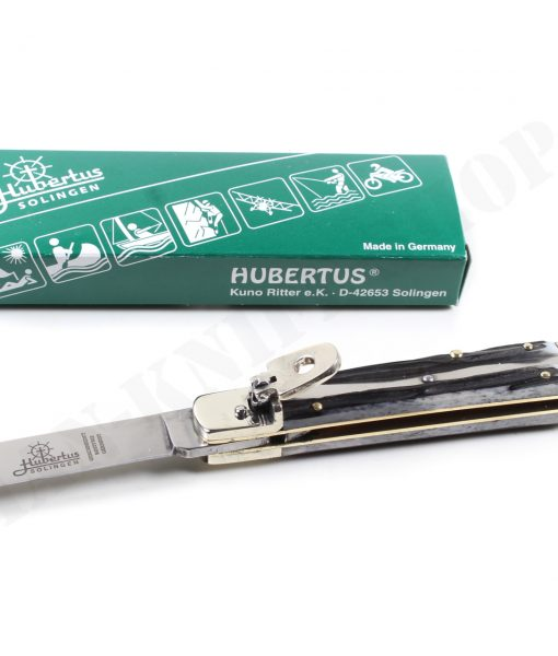 Hubertus Switchblade Springer lever lock Knife Slim Black Bones