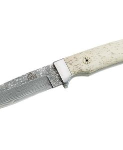 Puma TEC belt knife, 71 layers Damascus steel, bone handles for sale