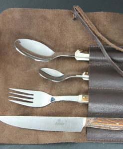 Hubertus Traveller's Tableware in Leather Case for sale