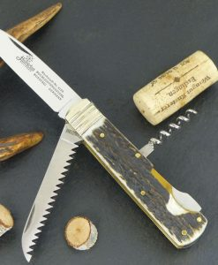 """Hubertus Folding Knife Stag 2.95"""" with corkscrew & saw for sale"""