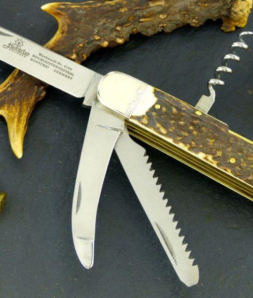 Hubertus Folding Knife 3.15″ Gutting Blade, Saw & Corkscrew